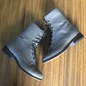 Laredo lace up leather cowgirl boots gray